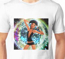 Disco Girl Dancing retro funky cool glitter ball  Unisex T-Shirt