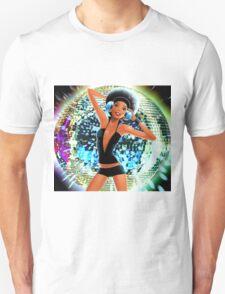 Disco Girl Dancing retro funky cool glitter ball  T-Shirt