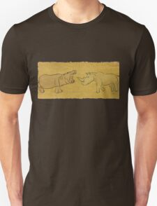 Gentle Giants - Rhino and Hippo Drawing on Tribal Pattern T-Shirt