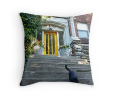 Cat Slinking Toward Me Throw Pillow