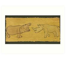 Gentle Giants - Rhino and Hippo Drawing on Tribal Pattern Art Print