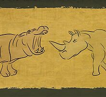 Gentle Giants - Rhino and Hippo Drawing on Tribal Pattern by ibadishi