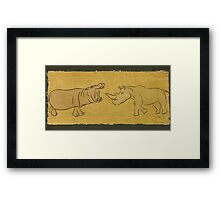 Gentle Giants - Rhino and Hippo Drawing on Tribal Pattern Framed Print