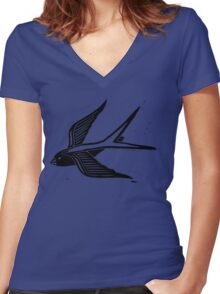 Welcome Home Swallow Women's Fitted V-Neck T-Shirt