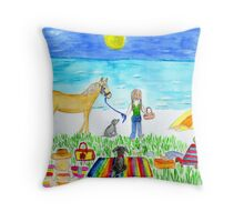 friends and pets day at the beach Throw Pillow