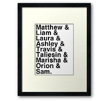 The Cast of Critical Role - Helvetica List Framed Print
