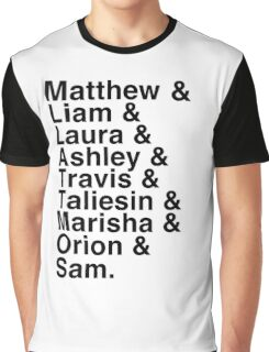 The Cast of Critical Role - Helvetica List Graphic T-Shirt