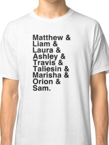 The Cast of Critical Role - Helvetica List Classic T-Shirt