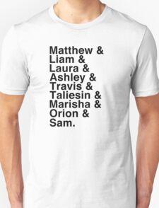 The Cast of Critical Role - Helvetica List Unisex T-Shirt