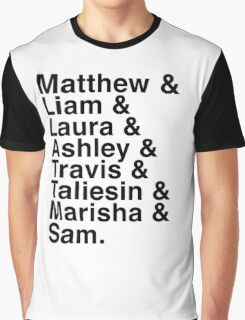 The Cast of Critical Role (Variant 2) - Helvetica List Graphic T-Shirt
