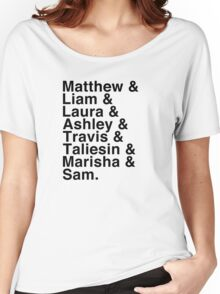 The Cast of Critical Role (Variant 2) - Helvetica List Women's Relaxed Fit T-Shirt