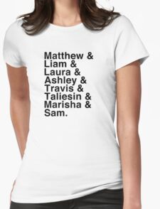 The Cast of Critical Role (Variant 2) - Helvetica List Womens Fitted T-Shirt