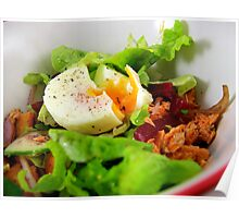 Red Salmon and soft poached egg salad Poster