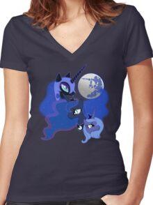 Three Luna Moon Women's Fitted V-Neck T-Shirt