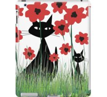Black Cats and Red Poppies iPad Case/Skin
