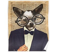 Chihuahua Hipster Dictionary Art Poster