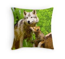 Wild nature - wolves Throw Pillow