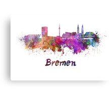 Bremen skyline in watercolor Canvas Print