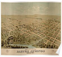 Panoramic Maps Birds eye view of the city of Baxter Springs Kansas 1871 Poster