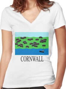 Cornwall fishing village Women's Fitted V-Neck T-Shirt