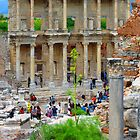 Tourists Flood The Library of Celsus - Ephesus by Mary-Elizabeth Kadlub