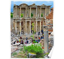 Tourists Flood The Library of Celsus - Ephesus Poster
