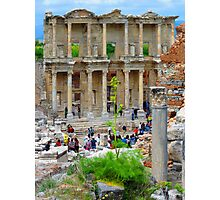 Tourists Flood The Library of Celsus - Ephesus Photographic Print