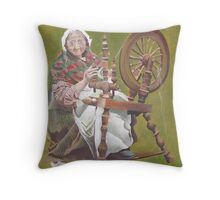 Old Irish Woman Sitting At A Spinning Wheel Throw Pillow