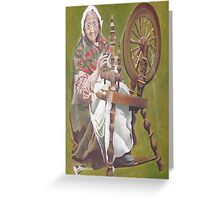 Old Irish Woman Sitting At A Spinning Wheel Greeting Card