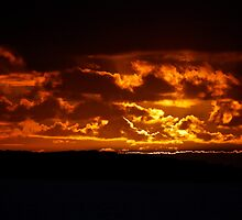 No, it is not a bush fire it is tonight's sunset in Coffin Bay by Ian Berry