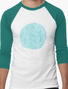 Turquoise spirals  Men's Baseball ¾ T-Shirt