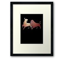Bull Fight In Brown Framed Print