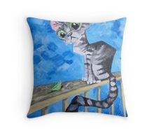 The Cat And The Leaf Throw Pillow