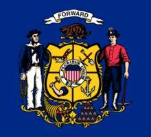 Wisconsin USA State Flag Milwaukee Bedspread T-Shirt Sticker Sticker