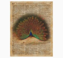 Colourful Beautiful Peacock Vintage Dictionary Art One Piece - Short Sleeve