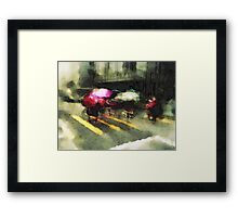 Umbrellas at the crossing III Framed Print