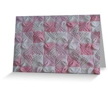 Knitted Pink Square Petals Baby Blanket  Greeting Card