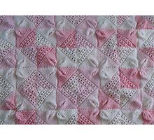 Knitted Pink Square Petals Baby Blanket  Photographic Print