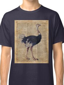 Ostrich Big Bird Animal Vintage Dictionary Illustration Classic T-Shirt