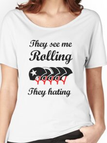 They See Me Rolling (Roller Derby) Black design Women's Relaxed Fit T-Shirt