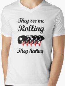 They See Me Rolling (Roller Derby) Black design Mens V-Neck T-Shirt