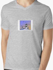 Nobska Lighthouse Wreath Mens V-Neck T-Shirt