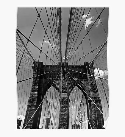 Brooklyn Bridge Wires - Black & White Poster