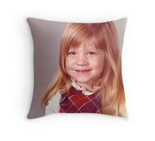 young girl vintage old preschool photo 1970s Throw Pillow