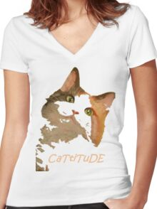 Cattitude - A Cat With Attitude Women's Fitted V-Neck T-Shirt