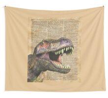 T-rex,tyrannosaurus,dinosaur Vintage Dictionary Art Wall Tapestry