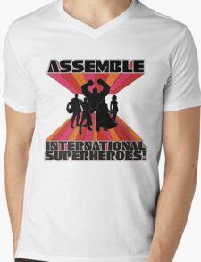 International Superheroes Mens V-Neck T-Shirt