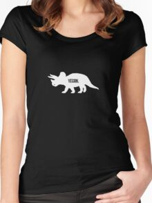 Triceratops Love Veggies - Dark Women's Fitted Scoop T-Shirt