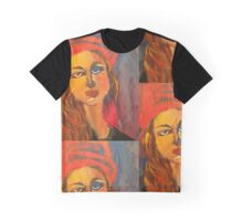 Woman in Red Hat Graphic T-Shirt
