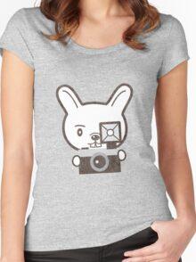 Cute Photographer Rabbit Women's Fitted Scoop T-Shirt